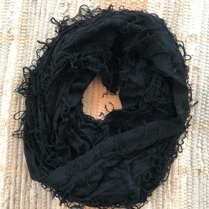 Black frayed/distressed infinity scarf